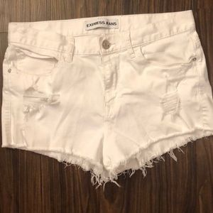 Express high waisted white distressed shorts